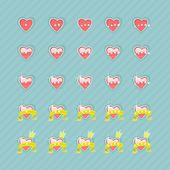 Set of hearts and levels — Stock Vector