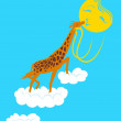 Stock Vector: Giraffe loves sun