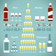 Stock Vector: Set of alcohol bottles