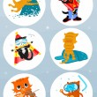 Adventure cats — Vector de stock #37088915