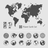 Planet earth symbol set — Stok Vektör