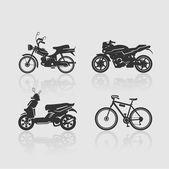 Set Silhouettes bikes — Stok Vektör