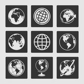 Set symbols globe — Stock Vector