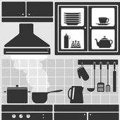 Kitchen in apartment — Stock Vector
