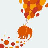 Elephant flying through the sky — Stockvektor