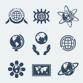 Set of symbols planet earth — Stockvektor