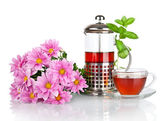 Teapot of tea with mint and pink flowers isolated on a white background — Stock Photo