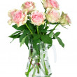 Stock Photo: Bouquet of pink roses in vase, isolated on white