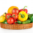 Fruits and vegetables in basket isolated on white background — Photo #18519141