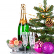 New Year Card Design with Champagne. Christmas Scene. Celebration. — Stock Photo #18519803