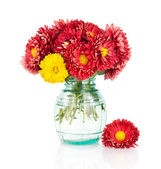 Huge bunch of yellow and red autumn flowers in vase — Stock Photo