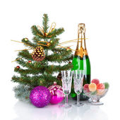 New Year Card Design with Champagne. Christmas Scene. Celebration. — Stock Photo