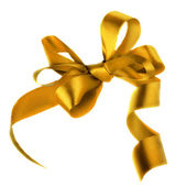 Golden satin gift bow. Ribbon. Isolated on white — Stock Photo