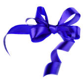 Blue satin gift bow. Ribbon. Isolated on white — Stock Photo