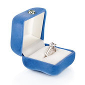 Luxury Diamond Wedding Ring in Blue Velvet Silk Box using for En — Stock Photo
