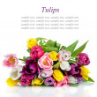 Stock Photo: Beautiful tulips bouquet isolated on white background
