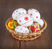 Easter basket with decorated eggs — Stock Photo