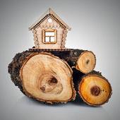 Modello in legno della casa e la pila di legno. concetto — Foto Stock