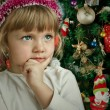 Little child girl near Christmas tree. Happy new year — Stock Photo