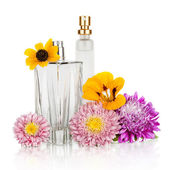 Women's flower perfume in beautiful bottle — Stock Photo