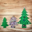 Christmas tree. New Years decoration on wood background, with free space for your text — Stock Photo #37339647