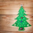 Christmas tree. New Years decoration on wood background, with free space for your text — Stock Photo