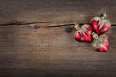 Christmas concept (decoration). Heart over rustic wooden background (texture) close up, Retro Styled Wallpaper. Valentines Day — Stock Photo