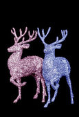 Winter christmas card with deer (elk) isolated on black background — Stockfoto