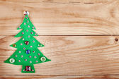 Christmas tree. New Years decoration on wood background, with free space for your text — Stockfoto