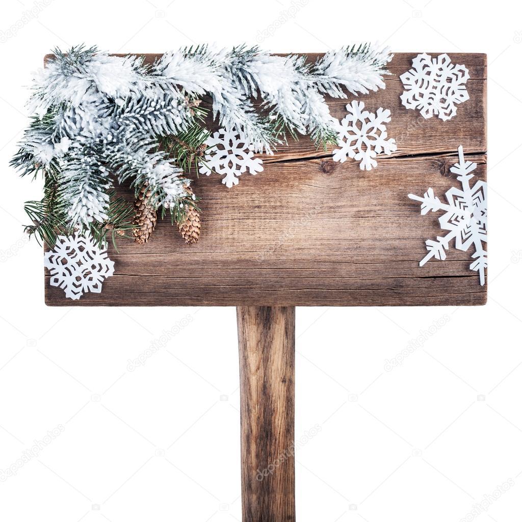 Panneau de signalisation en bois avec sapin de No u00ebl dans la neige nouvel an fond u2014 Photo #37339651 # Panneau Signalisation Bois