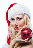 Beautiful woman in Santa Clause costume — Stock Photo