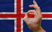 Ok gesture in front of iceland national flag — Zdjęcie stockowe