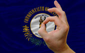 Ok gesture in front of kentucky us state flag — Stock Photo