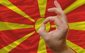 Ok le geste devant le drapeau national de macédoine — Photo