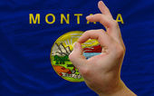Ok gesture in front of montana us state flag — Stock Photo