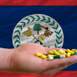 Holding pills in hand in front of belize national flag - Stock Photo