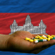 Holding pills in hand in front of cambodia national flag - Stock Photo