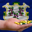 Holding pills in hand in front of connecticut us state flag - Stock Photo