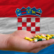 Holding pills in hand in front of croatia national flag - Stock Photo