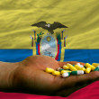 Holding pills in hand in front of ecuador national flag - Stock Photo