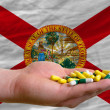 Stock Photo: Holding pills in hand in front of floridus state flag