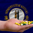 Stock Photo: Holding pills in hand in front of kentucky us state flag