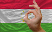 Ok gesture in front of tajikistan national flag — Stock Photo