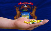 Holding pills in hand in front of michigan us state flag — Stock Photo
