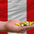 Stock Photo: Holding pills in hand in front of peru national flag