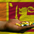 Stock Photo: Holding pills in hand in front of sri lanknational flag
