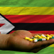 Holding pills in hand in front of zimbabwe national flag - Stock Photo
