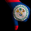 Stock Photo: Belize national flag thumb down gesture for failure made with ha