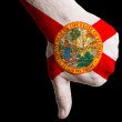 Stock Photo: Floridus state flag thumbs down gesture for failure made with