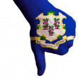 Stock Photo: Connecticut us state flag thumbs down gesture for failure made w
